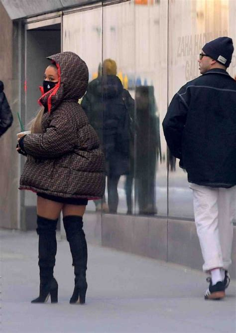Ariana Grande in a Brown Fendi Puffer Jacket Was Seen Out